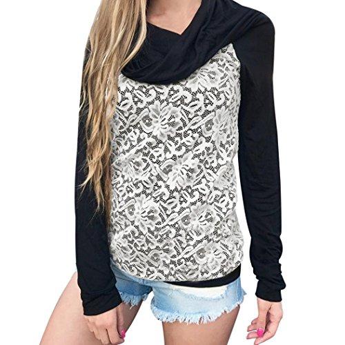 Hoodie Sweatshirt Dasongff Damen Frauen Kapuzenpullover Mit hohem Kragen Feste Sweatshirt Pullover Tops Slim Fit Pulloverkleid (S, Schwarz-C)