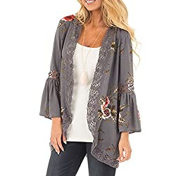 Brezeh Women Blouse, Women Lace Floral Casual Long Sleeve Coat Loose Kimono Jacket Cardigan (S, Gray)