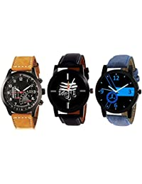 Metspot Multicolor Mahadev Dial Analog Watches For Men & Boy Watch Pack Of 3