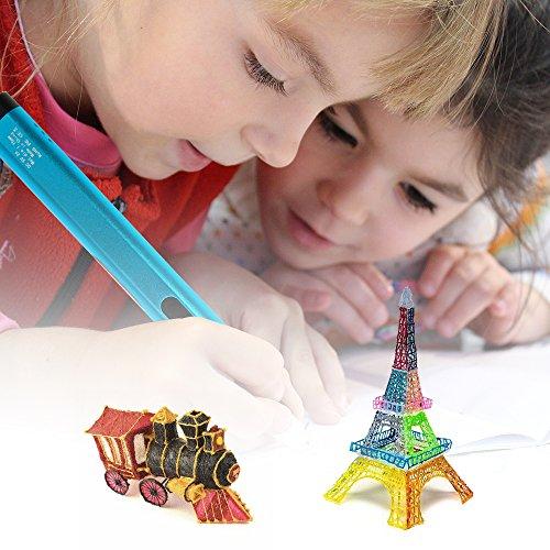Uvistare 3D Drucker Stift Set 3D Stereoscopic Printing Pen Drawing, 3 x 3M PLA Filament ( Blau Rot Gelb ), Intelligent mit LCD-Bildschirm, Freihand 3D Zeichnungen, für Kinder Erwachsene Kunstwerken - 3