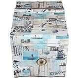 Exclusive Tischdecke 38x130 cm Maritim Läufer Baumwolle Vintage Style Nautik Shabby Look Möwe Kieselsteine Kollektion Sandner/Germany (Tischläufer 38x130 cm)