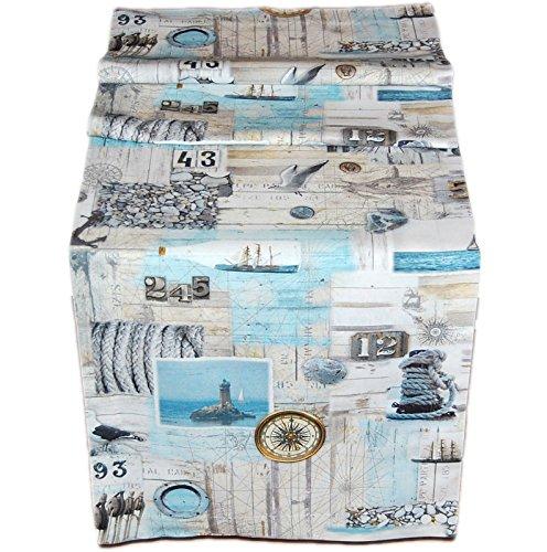 38x130 cm MARITIM Läufer Baumwolle Vintage Style Nautik Shabby Look Möwe Kieselsteine Kollektion Sandner/Germany (Tischläufer 38x130 cm) ()