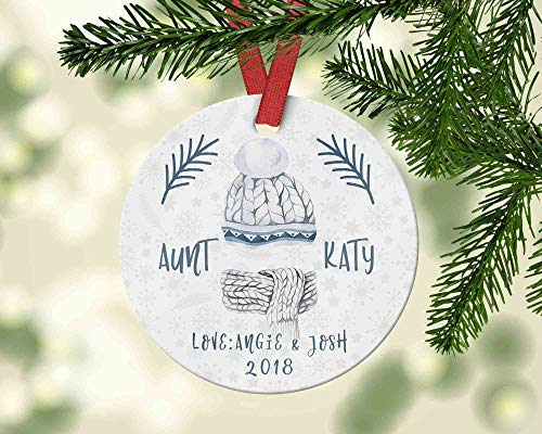 Gift for Your Sister from The Kids Aunt Christmas Ornament with Ugly Sweater Personalized Name Ornament Christmas Decoration Funny Holiday Xmas Tree Hanging Crafts (Ideen Xmas Sweater Ugly)