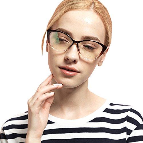 XFentech Mode Retro Unisex Cateye Brillen Herren Damen Nerdbrille Brillenfassungen, Braun