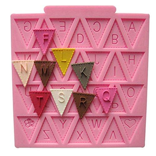 zhouba Silikon Buchstabe Flagge Spitze Kuchen Form Dekorieren Backen Schokolade Fondant Form, Zufällig, Einheitsgröße (Spitze Buchstaben)