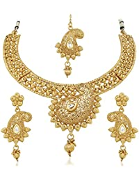 Apara Exquisite Gold Plated Necklace Set With Maang Tikka For Women