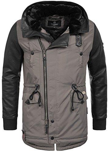 Nylon-fleece-jacke-mantel (Navahoo warme Designer Herren Winter Jacke leichte Winterjacke Parka Mantel B622 [B622-Shinook-Grau-Gr.M])