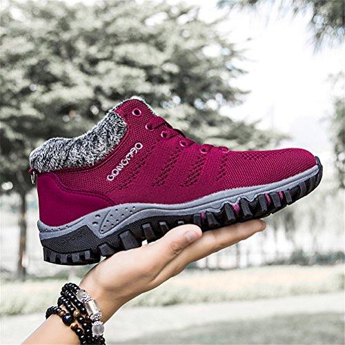 Damen Wander Sneaker Warme Gefüttert Winter Boots Winterschuhe Outdoor Sport Schuhe 35-40 Rot