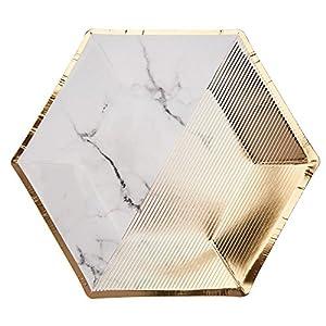 Neviti Scripted Marble - Plato para fiestas (tamaño mediano), diseño de mármol