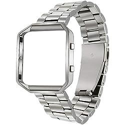 Para Fitbit Blaze Band, TRUMiRR banda de reloj inteligente con marco de metal de acero inoxidable correa de reemplazo para Fitbit Blaze