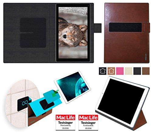 reboon Hülle für Blaupunkt Endeavour 101L Tasche Cover Case Bumper | in Braun Leder | Testsieger