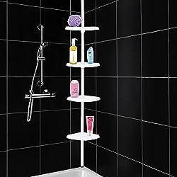4Y1-FIG-RC5 4 Tier Adjustable Shelf Bathroom Organiser Corner Shower Shelf Caddy Holder 70 cm - 245 cm, White