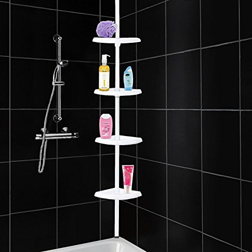 4Y1-FIG-RC5 4 Tier Adjustable Shelf Bathroom Organiser Corner Shower Shelf Caddy Holder 70 cm - 245 cm, White