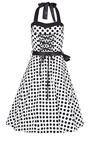 Laeticia Dreams Damen Kleid Rockabilly 50er Jahre Knielang Neckholder S M L XL Weiß/Schwarz Punkte Medium