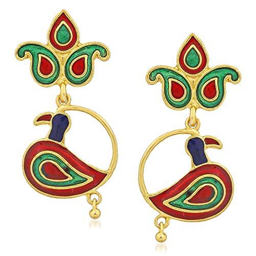 Apara Peacock Goldplated Necklace Set with Meenakari for Women