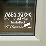 5 x SMALL 50mm Monitored Alarm System Installed and CCTV Video Recording Camera-Security Warning Window Stickers-Mini Self Adhesive Vinyl Signs