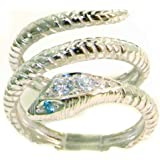 Solid 9ct White Gold Blue Topaz & Diamond Snake Band Wrap Ring - Finger Sizes J to Z Available