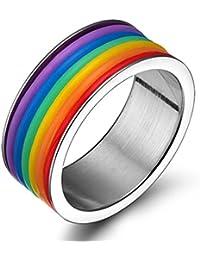 Gudeke Anillos de Acero Inoxidable del Arco Iris del Homosexual y Lesbiana del Orgullo LGBT