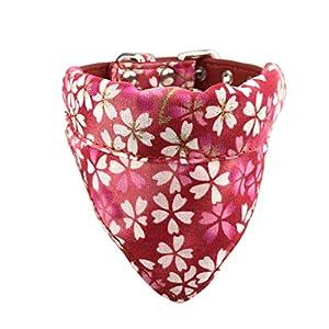 Newtensina Doux Bandana Collier de Chien Classique Fleur Sakura désign Mignonne Bandana pour Chiens Chats