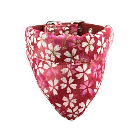 Newtensina Weicher Bandana Hundehalsband Klassische Blume Sakura Design Süßer Bandana für Hunde Katzen - Rot - XS