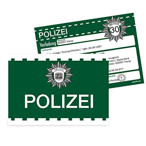 Einladungskarten zum Geburtstag als Vorladung | 20 Stück | Inkl. Druck Ihrer Texte | Kindergeburtstag | Polizei | Individuelle Einladungen | Karte Einladung | Einladungskarte Jungen Mädchen
