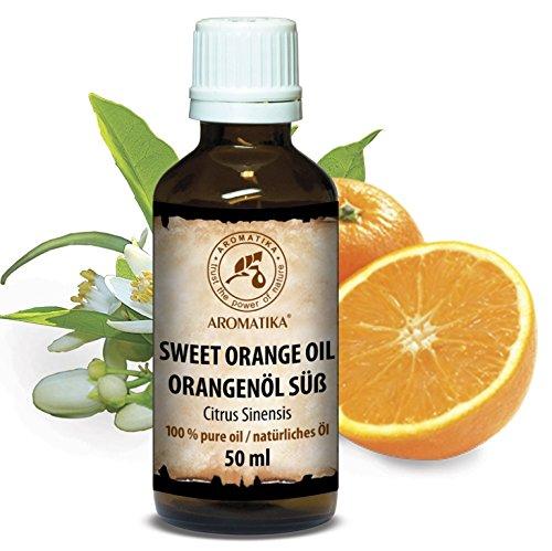 Orange Spray Duft (Orangenöl, 100 % reines ätherisches Orangenöl 50ml - Brasilien -Orangen Öl für guten Schlaf - Beauty - Baden - Körperpflege - Wellness - Schönheit - Kosmetik - Aromatherapie - Entspannung - Massage - SPA - Raumduft - Duftlampe, Glasflasche, Orangenöl Ätherisch von AROMATIKA)