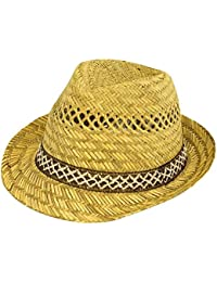 c4b9ff15f2139 New Mens Ladies 100% Straw Fedoras Trilby Hats With Brown   White Band (57cm