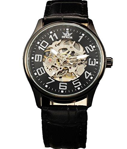 Sewor Mens Mechanical Hand Wind Skeleton Transparent Wrist Watch (Black)