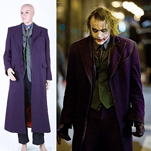 Joker Batman Cosplay Kostüm The Dark Knight Mantel Hemd Hose Weste Halloween Lot (Halloween-kostüm Joker)