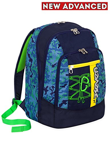38354104ca Zaino scuola advanced SEVEN – BITMAP – Blu Verde – 30 LT – inserti  rifrangenti