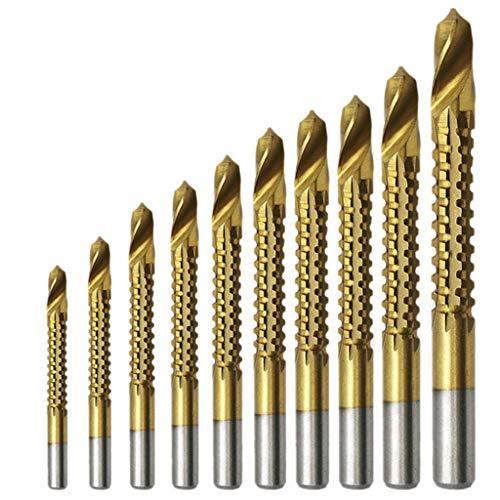 aiyvi 10pcs Bohrer Titanbeschichteter HSS-Bohrer Elektrische Kunststoff-Metall-Lochnut-Säge Carpenter Kit Zubehör für Elektrowerkzeuge Baumarkt (Säge Kit Metall)