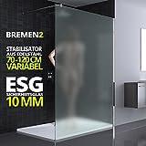 120x200 cm Luxus Duschwand aus Echtglas Bremen2VS, Stabilisator rund, 10mm ESG Sicherheitsglas Milchglas, inkl. Nanobeschichtung