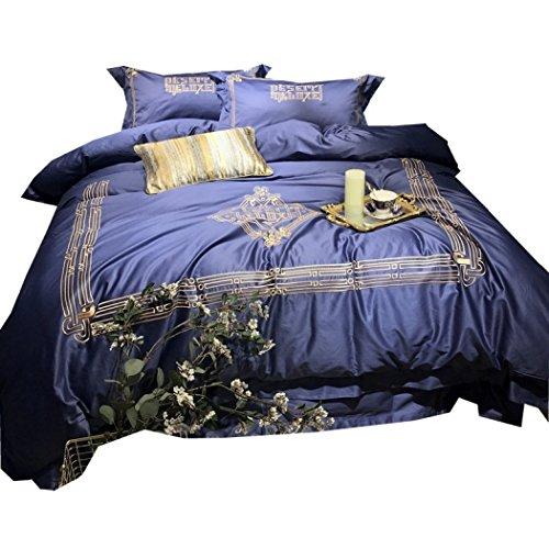 Bettbezug Stickerei Bettbezug Sets Baumwolle Bettwäsche Home, Hotel Bettwäsche & Kissenbezüge Quilt-Sets Blau Luxus Bettwäsche 4st,Queen 200*230cm (König Tröster Set Blau)