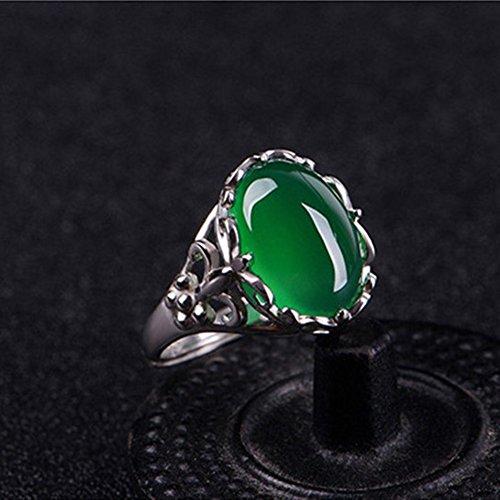(HJWMM Grüner Achat Kristall Ring, Smaragd Eingelegten Chalcedon Zeigefinger Verstellbarer Weiblicher Ring)