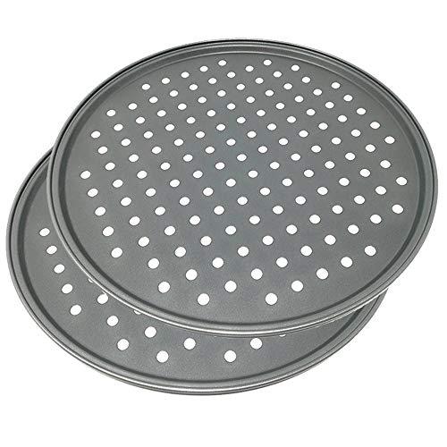 Happy Friends - Moules à Pizza Perforées - Plaque à pizza Anti-Adhésive - Set 2 - Acier au Carbone - Ø 32 cm