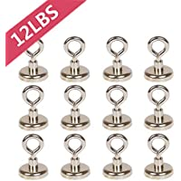 Bkinsety 12Piece Super Strong Neodymium Magnet with Eyelet, 16mm, max. load 5.5kg Strong Magnethaken Hook Magnetic Magnetfischen