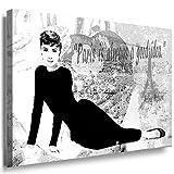 Julia-art Leinwandbilder - Audrey Hepburn Bild 1 teilig - 40 mal 30 cm Leinwand auf Rahmen - sofort aufhängbar ! Wandbild XXL - Kunstdrucke QN.64-1