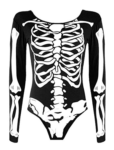 Tamaño señoras de las muchachas del esqueleto de Halloween vestido bodycon polainas Body Plus 36-54 euros (M/L (EUR 40-42), Negro / mono)