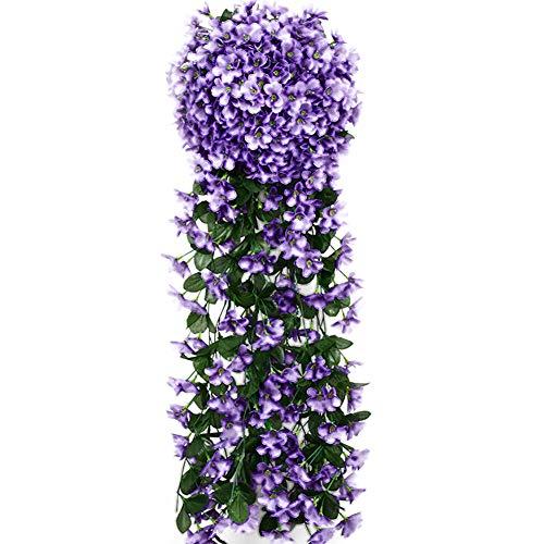 Lumanuby. Flor Artificial Violeta Ramo simulación Material de Tela Guirnalda de Flores Colgante de Pared Flor Vid para Boda en casa con decoración de balcón