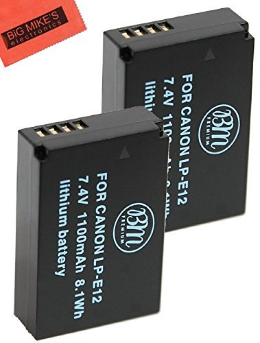 Pack Of 2 LP-E12 Replacmenet Batteries for Canon Rebel SL1 EOS-M Mirrorless Digital Camera + More  available at amazon for Rs.2426