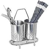 304Edelstahl-2Fächer zum Aufhängen Mesh Küchenutensilien Trocknen Rack/Essstäbchen/Löffel/Gabel/Messer Abtropfgestell Korb Besteck Aufbewahrung Abtropfgestell (rund)