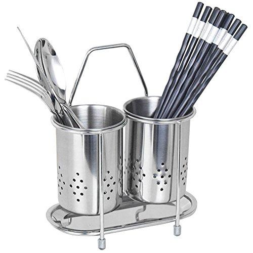 304Acero inoxidable para colgar utensilios de malla 2compartimentos palillos/cuchara/tenedor/cuchillo/rack de secado escurridor cesta cubiertos escurridor de almacenamiento (redondo)
