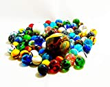 Partynelly 1 kg Bunte Murmeln aus Glas, Verschiedene Größen