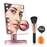 Easehold Illuminated Vanity Mirror, 21pcs Led Lights Make Up Mirror with Removal 10X Magnification Spot, Bonus Beauty Brush and Sponge (Rose Gold)