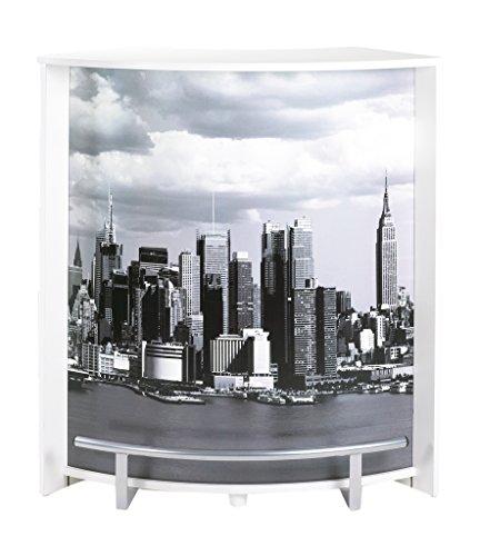 Simmob Comptoir, Meuble Bar, Blanc-Coloris-Manhattan 508, Bois