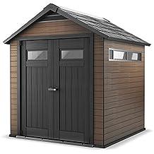 Keter - Caseta de jardín exterior Fusion 7, 5x7, Color marrón