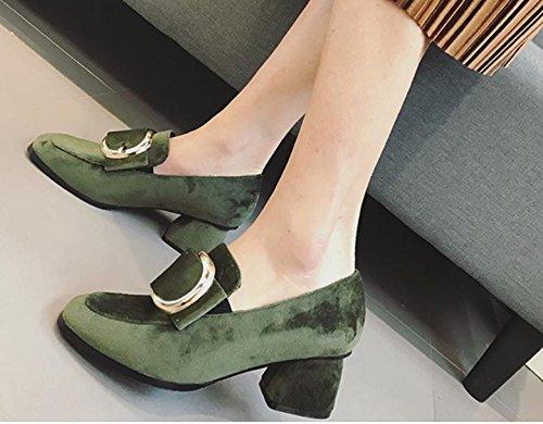 La nouvelle tête carrée avec une chaussure unique avec côté décontracté boucle talons hauts Green