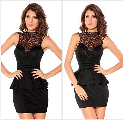 WJS-Damenbekleidung sommerkleid spitzen schulterfreien kleid elastische schicht,schwarz,l