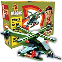 TOTTA Mighty Raju Helicopter Design Building Block Play Set for Boys Girls & Kids (119 Pcs)