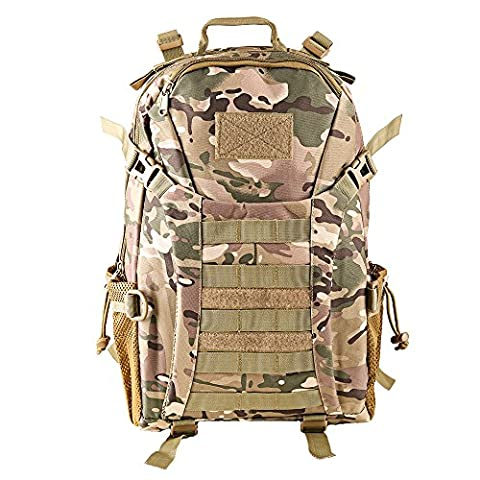 HUKOER 35L Army Tactical Rucksack - Trekking Backpack 600D Oxford Large Capacity Combat Pack Waterproof Travel Shoulder Bag Hiking Daypack Military Camouflage Backpack Casual School Daypack